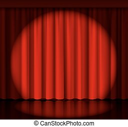 Spotlight on stage curtain. Event and show, fabric and...