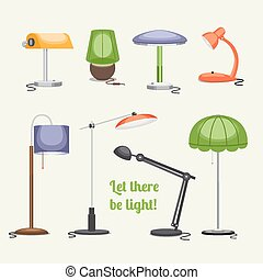 Furniture. Floor lamp and table lamps - Set of lamps....