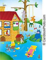 flooding - Cartoon landscape with flooding in city of pets