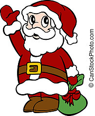 Santa waving - Santa holding a bag of gift while waving his...