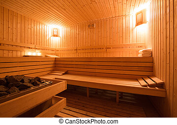 Sauna interior - Interior of a wooden finnish sauna.