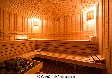 Sauna interior - Interior of a wooden finnish sauna