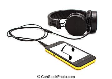 Music on your smartphone - Smartphone with headphone