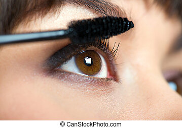 Makeup., Make-up., Demande, Mascara., long, cils,