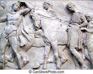 Elgin Marbles - Section of a frieze of the ancient Elgin...