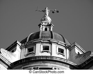 Old Bailey - Black & White image of the Scales of Justice of...
