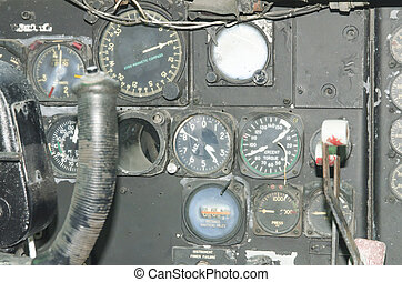 flight - Miles and old aircraft cockpit instruments.