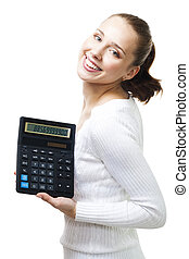 Happy woman stand with calculator