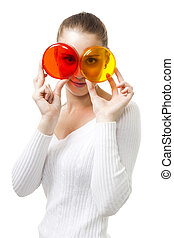 Bright vivid color lifestlye - Woman look through color...