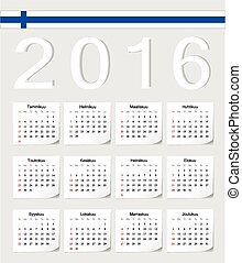 Finnish 2016 calendar - Finnish 2016 vector calendar with...