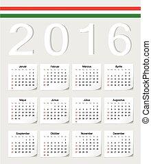 Hungarian 2016 calendar - Hungarian 2016 vector calendar...