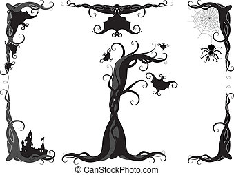 halloween vector ornament - set of halloween vector ornament...