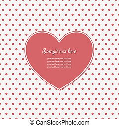 Heart frame with polka dot pattern.
