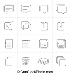 Notes, memos and plans icons - Notes, memos and plans linear...