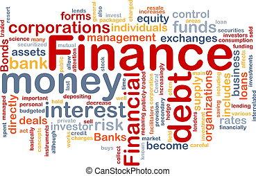 finanzas, palabra, nube