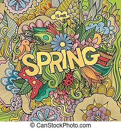 Spring hand lettering and doodles elements