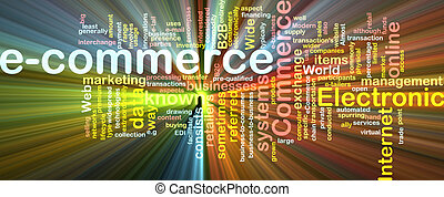 E-commerce word cloud glowing - Word cloud concept...