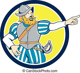 Spanish Conquistador Pointing Cartoon Circle - Illustration...