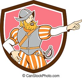 Spanish Conquistador Pointing Cartoon Shield - Illustration...
