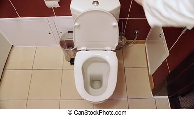 Drain water in the toilet - WC in White toilet is installed....