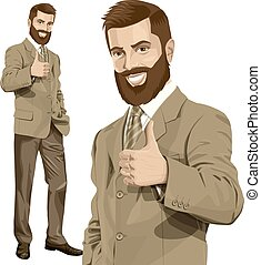 Vector Business Man With Beard Shows Well Done - Vector...