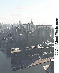 Future City - the Canal District - Science fiction...
