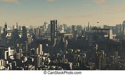 Future City in Late Afternoon Light - Science fiction...