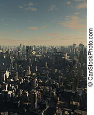 Future City - Late Afternoon - Science fiction illustration...