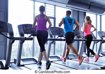 Group of people running on treadmills - group of young...