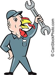 Turkey Mechanic Spanner Isolated Cartoon - Illustration of a...
