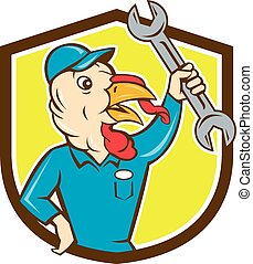 Turkey Mechanic Spanner Shield Cartoon - Illustration of a...