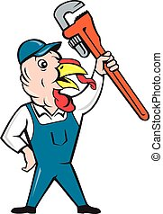 Turkey Plumber Monkey Wrench Cartoon - Illustration of a...