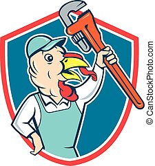 Turkey Plumber Monkey Wrench Shield Cartoon - Illustration...