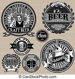 set vector retro icons to topic beer