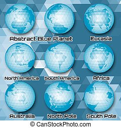 set of polygonal abstract globes with different mainlands