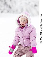 portrait of little girl in winter