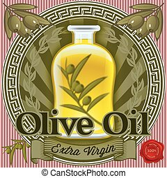 set of elements for design for olive oil
