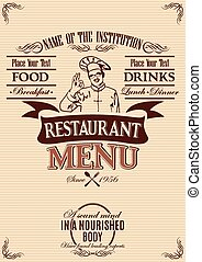 template for the cover of menu with