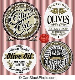 set of vector labels for olives oil