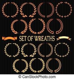 vector set  of wreaths with laurel
