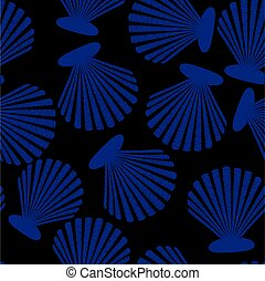 Shells seamless pattern. Vector sea