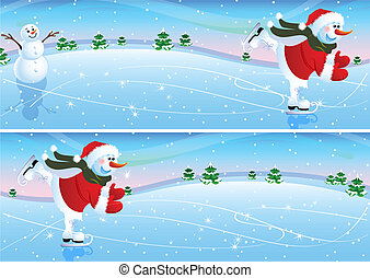Snowman on a skating rink - Vector illustration - snowman on...