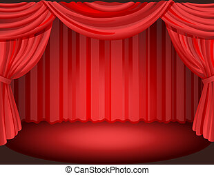 Curtain - Vector illustration - Red curtains on a stage