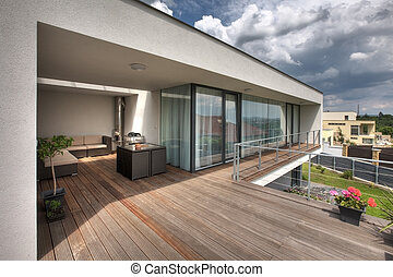 timber pool deck on modern home terrace