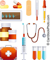 Medicine icon set - Vector illustration - medical equipment...
