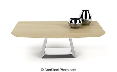 Wood coffee table - Modern wood coffee table on white...