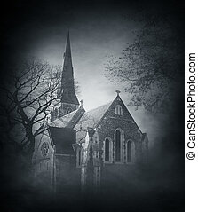 Halloween background with spooky and ancient church over...