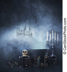 Halloween background with spooky and ancient castle on the...