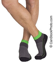 Male legs in socks. Isolated on white background