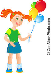 girlie - vector illustration - ginger girl with a balloon